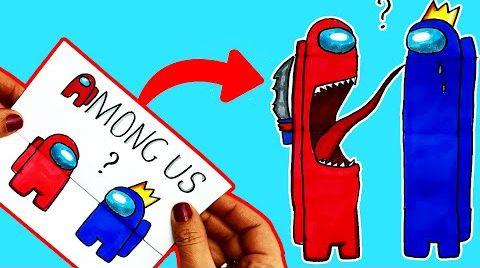 Видео DIY Амонг Ас СУПЕР открытка | Как сделать открытку Among Us своими руками | Рисунки Юльки амонг ас