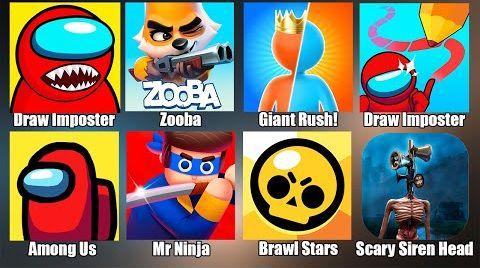 Видео Gameplay - Siren Head,Brawl Stars,Zooba,Giant Rush,Among Us,Сиреноголовый,Амонг Ас,Бравл Страс