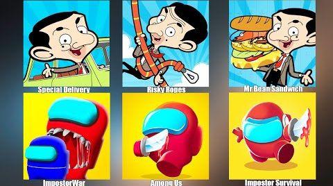Видео Impostor Survival,Among Us,Special Delivery,Mr Bean Sandwich,Амонг Ас NOOB vs PRO vs HACKER